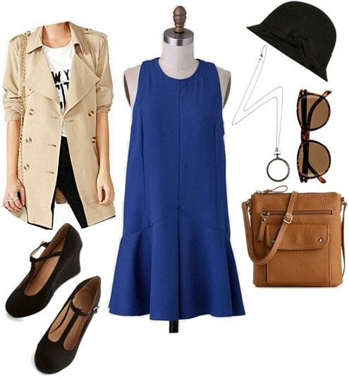 Nancy Drew Outfit: Trench Coat, Blue Dress, Cloche Hat