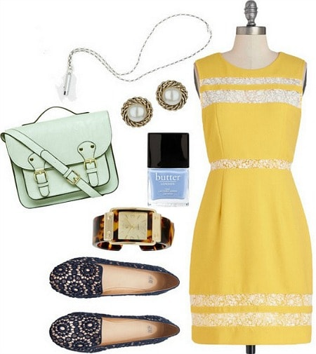Nancy Drew Outfit: Yellow Dress, Flats, Satchel