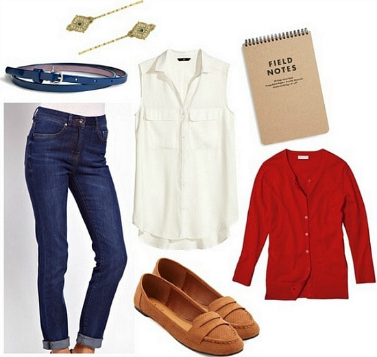 Nancy Drew Outfit: Penny Loafers, Cardigan, White Blouse