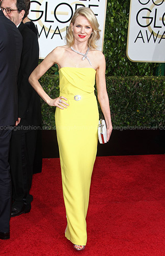 Naomi Watts Golden Globes 2015 in yellow Gucci