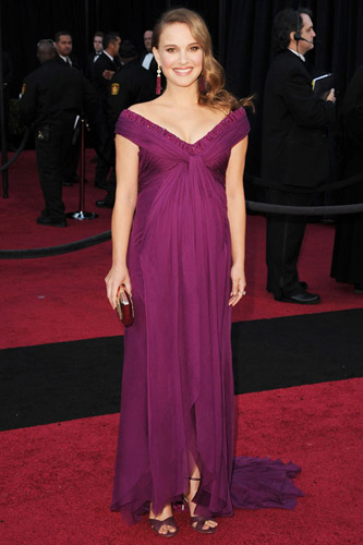 Natalie Portman in a purple Rodarte dress on the 2011 Oscars red carpet