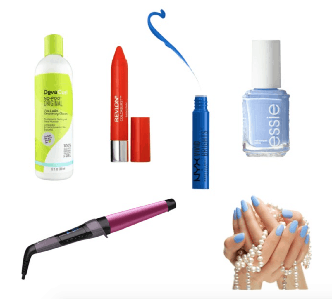 Nathalie Emmanuel's beauty arsenal: DevaCurl, Revlon lip stain, NYX vivid brights eyeliner, Essie light blue polish, curling wand