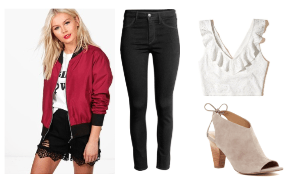 Life is Strange fashion: Outfit inspired by the character Nathan from the video game. Includes: Black skinny jeans, beige peep toe booties, ruffle crop top in white, red and black bomber jacket