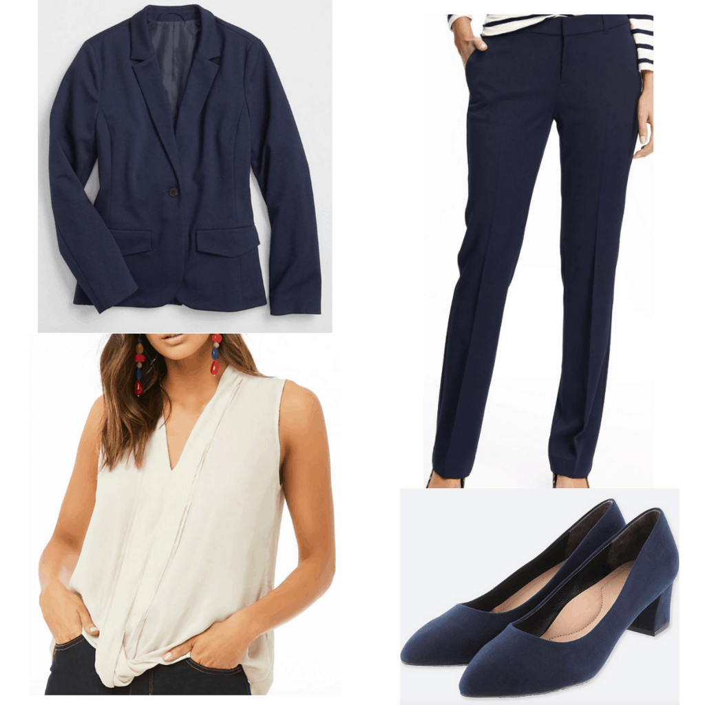 Navy blazer with fitted navy pants, cream blouse, and navy block heels