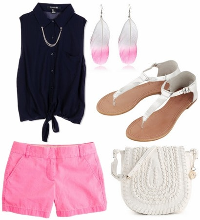 Navy blouse, hot pink shorts, feather earrings