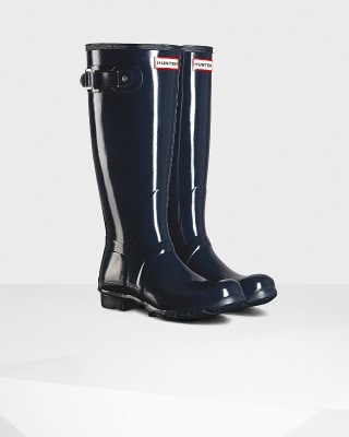 Navy Blue Tall Gloss Hunter Boots
