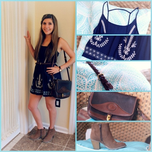 Navy dress white embroidery brown accessories tan booties outfit