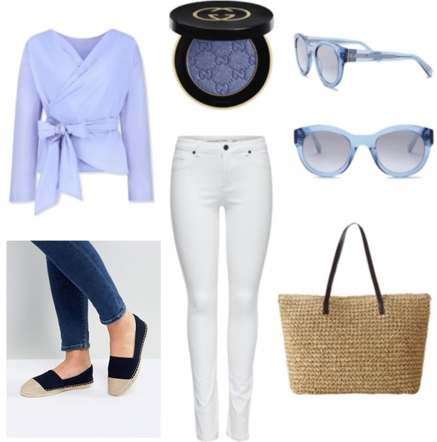 Blue and white outfit for spring: White skinny jeans, pale blue sunglasses, straw tote bag, navy blue espadrilles, light blue wrap blouse, blue eyeshadow.