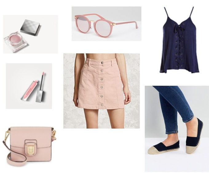 Pink and navy blue spring outfit: Blue lace up top, light pink button skirt, pink leather bag, pink sunglasses, navy blue espadrilles, light pink lipgloss and eyeshadow.