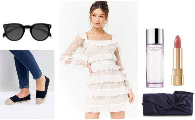 Outfit for spring: White ruffled dress, navy blue espadrilles, navy blue clutch, nude lipstick, navy blue sunglasses and perfume.