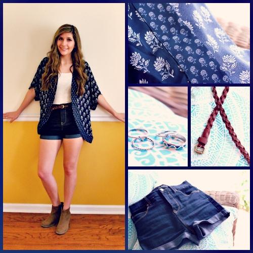 Navy-Floral-Kimono-Denim-Shorts-braided-belt
