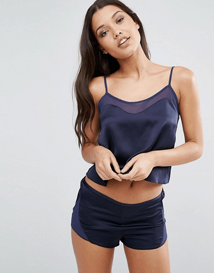 Navy satin pajamas from ASOS