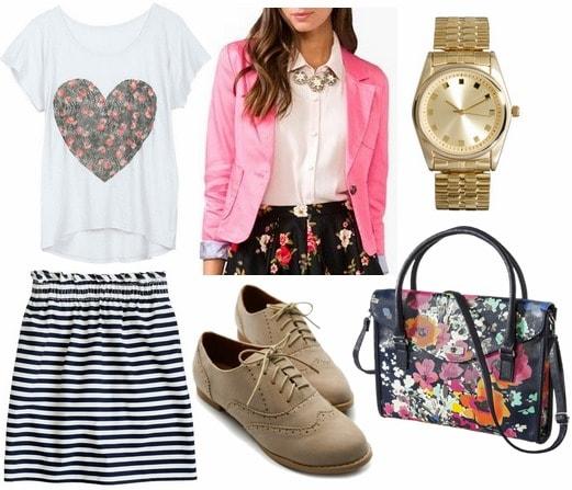 Navy striped skirt, graphic tee, hot pink blazer