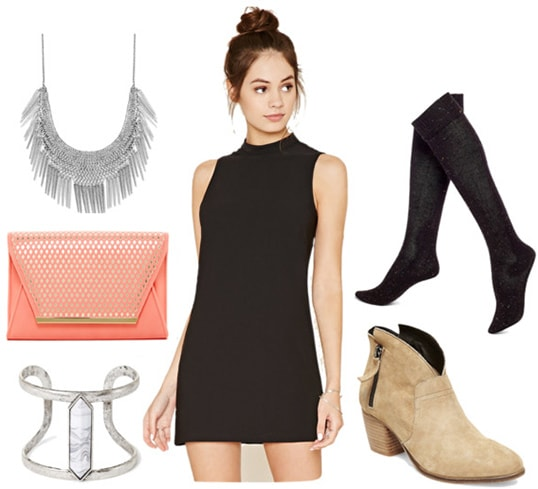 Dreamy outfit idea: Black dress, coral clutch, silver jewelry, tights, ankle boots
