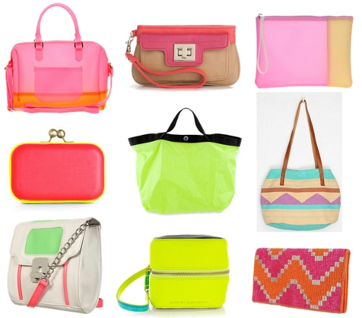 neon color-blocked bags
