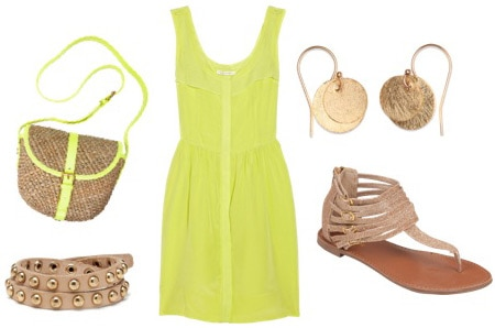 Neon + Neutral outfit - green dress and tan sandals