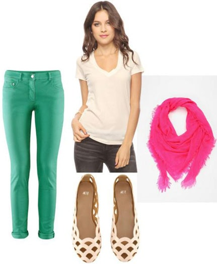 How to wear bright green jeans with a v-neck tee, basic flats and a neon pink scarf