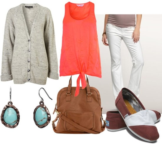 How to wear a neon top for day with white jeans, a grey sweater, turquoise earrings, TOMS shoes, and a satchel bag
