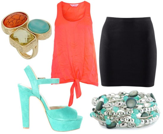 How to wear a neon top for night with a black skirt, turquoise heels and bracelets