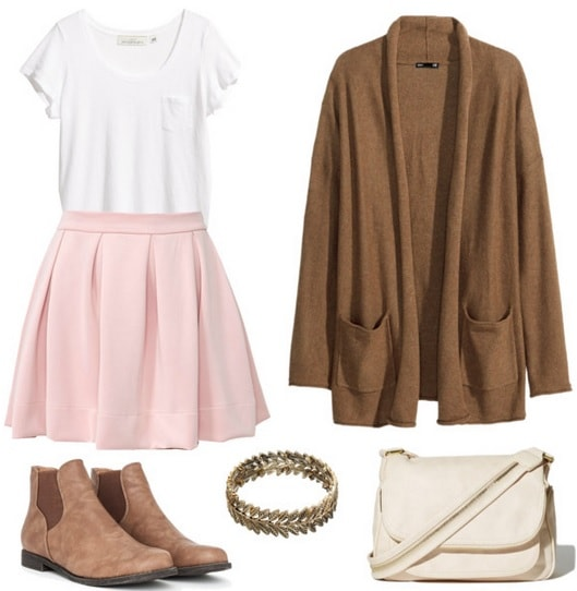 Neoprene skirt, white tee, cardigan, and ankle booties