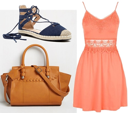 Neutral camel bag, coral dress, navy espadrilles