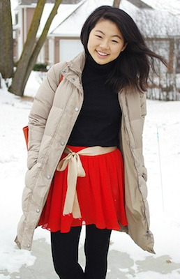 Neutral puffer coat at wellesley college