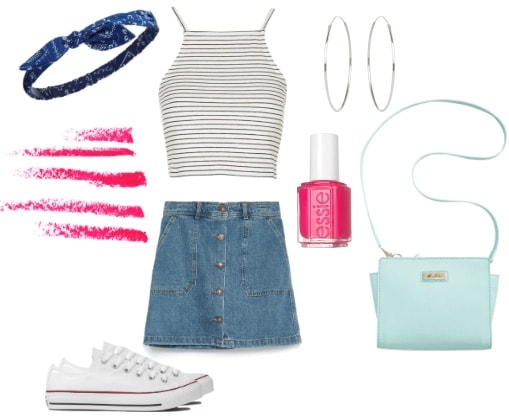 80s outfit with denim skirt and crop top