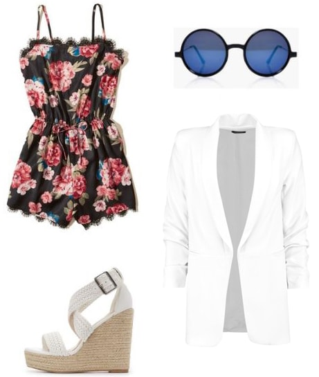Outfit idea for the summer: Floral romper, white oversized blazer, woven espadrilles, round sunglasses