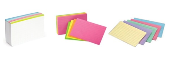 New semester organization index cards