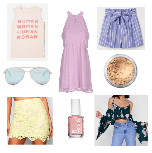 pink top, blue sunglasses, yellow skirt, lilac dress, pink polish, blue shorts, concealer, green top