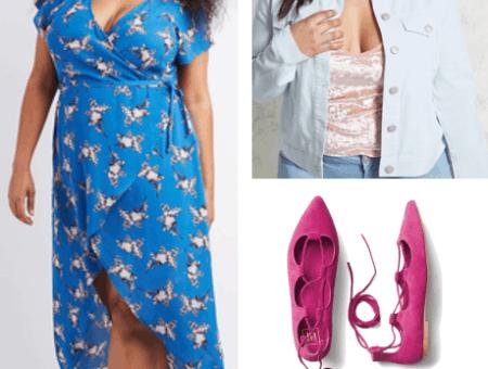 plus size floral wrap dress plus size denim jacket hot pink lace-up sandals