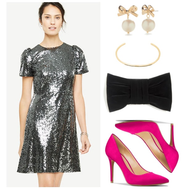 New Year's Eve outfit idea: Silver sparkly sequin dress, pink satin heels, black bow clutch, gold earrings and bracelet