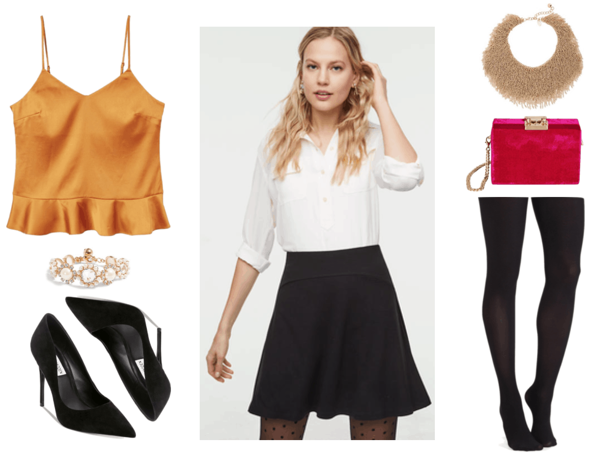 Marigold-yellow frilled satin camisole, gold bracelet with pearl-and-clear-stone flowers, black suede pointed-toe pumps, black a-line skirt, gold chain fringe statement necklace, fuchsia velvet bag with gold clasp and removable chain strap, black opaque tights
