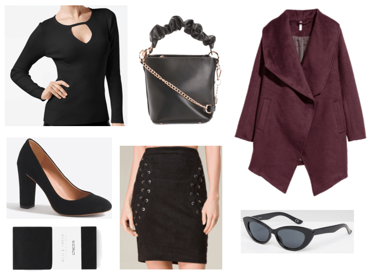 New Year's Eve outfit including black cutout sweater and burgundy coat.