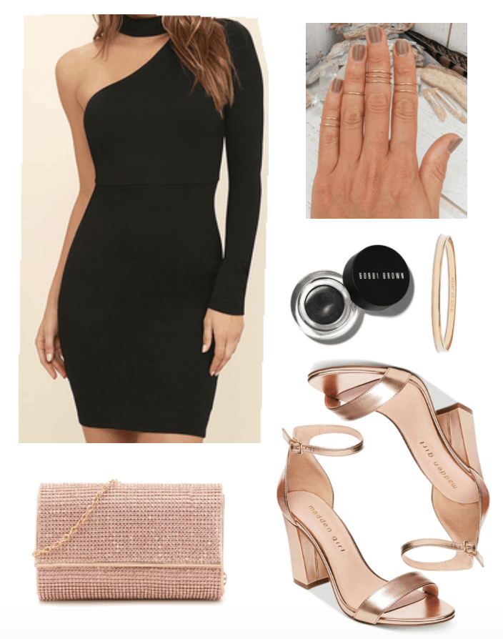 New Year's outfit including black bodycon one-shoulder dress.