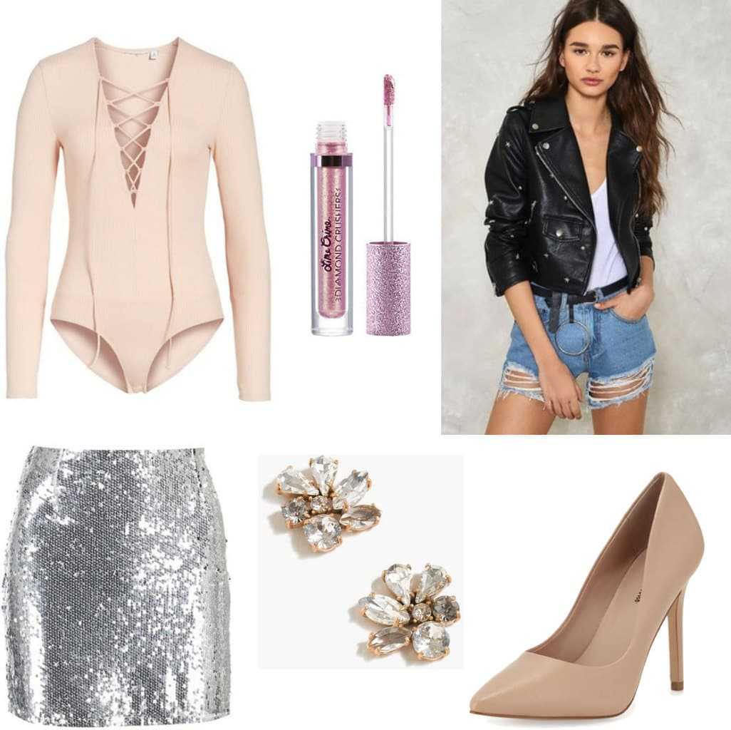 New Year's Eve outfit: What to wear on new year's with lace-up bodysuit, sequin skirt, nude pumps, leather jacket, lip gloss, statement earrings