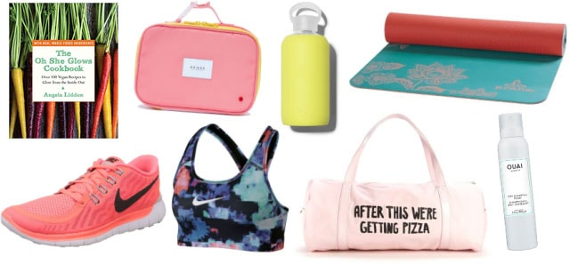 Everything you need if your new year's resolution is to be healthier: Cookbook, gym bag, yoga mat, sneakers, sports bra, dry shampoo, water bottle