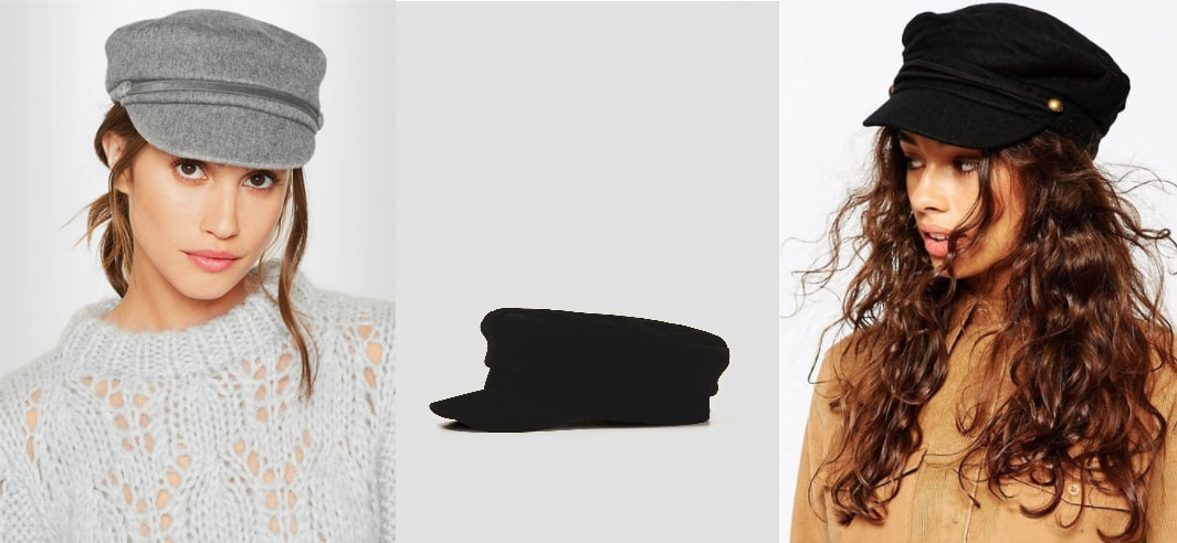 Newsboy cap trend: a grey Eugenia Kim calf hair-trimmed cashmere felt baker boy hat, a black train conductor-style hat from Zara, and a black wool cabby hat from ASOS.