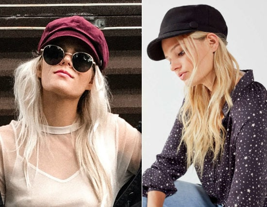 Newsboy Cap Trend: on the left, a velvet burgundy Forever 21 cabby hat and on the right, a black Urban Outfitters baker boy hat with wide brim.