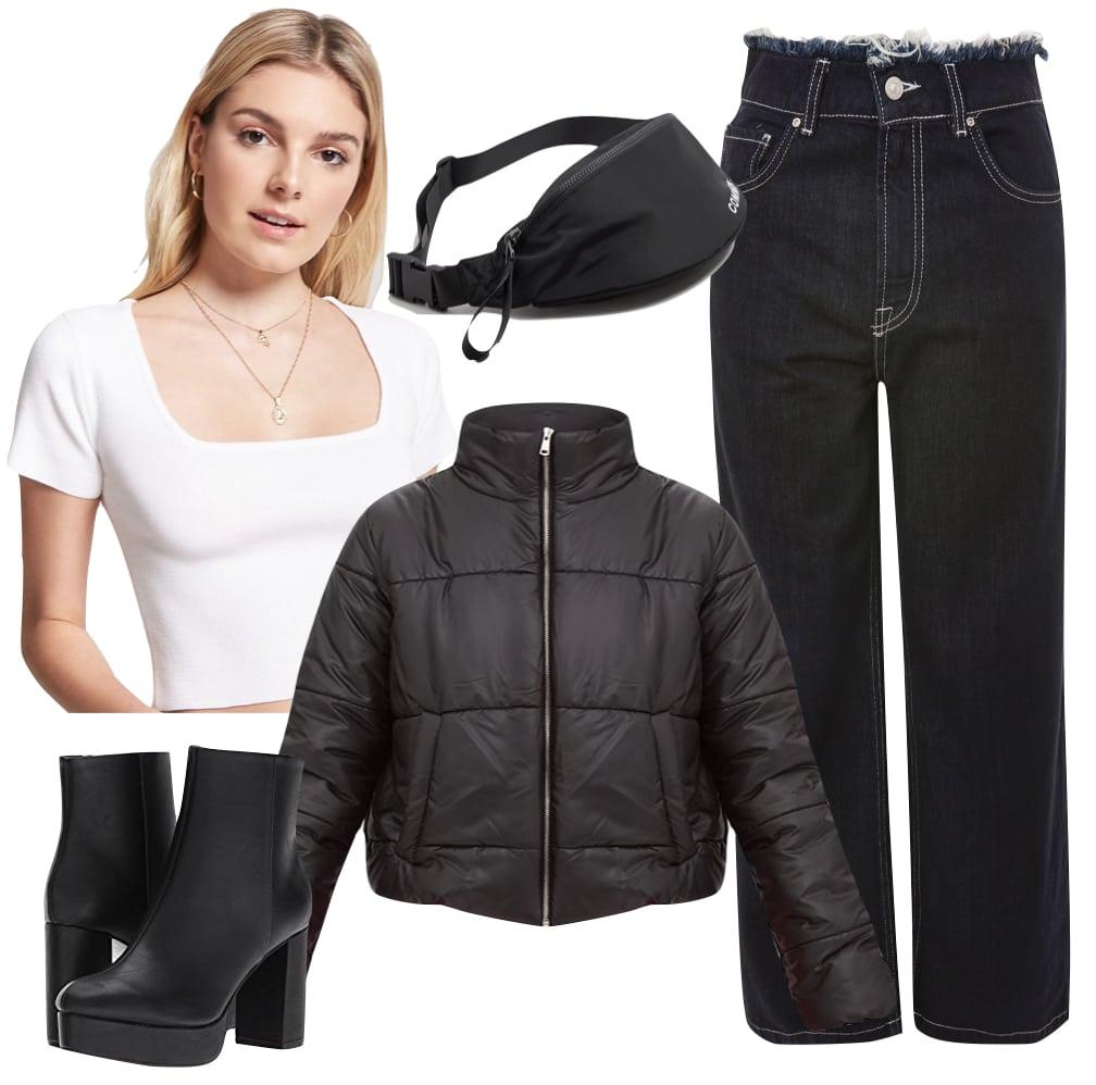 Nicola Peltz Outfit: white square neck crop top, cropped black puffer jacket, wide leg jeans, black platform ankle boots, and a black bum bag
