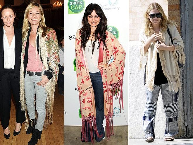 Kate Moss, Nicole Richie, Ashley Olsen in Fringe Scarf Jackets