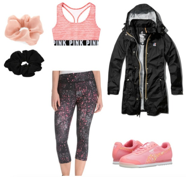 pink and black workout look