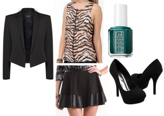 Outfit for a night on the town: Leopard tank, leather skirt, blazer, nail polish, black pumps