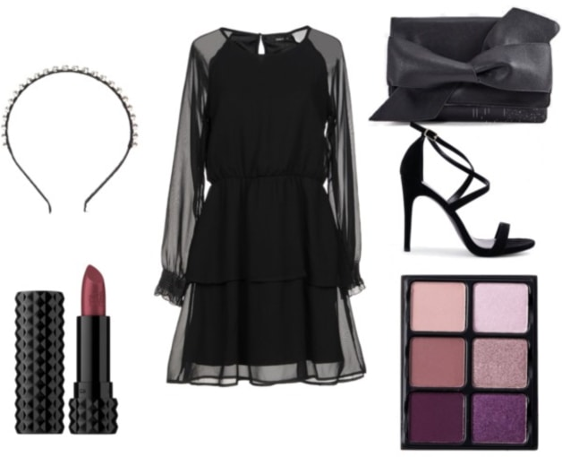 Night out clutch outfit: Sheer black long sleeve dress, strappy black heels, studded headband, lipstick, purple eyeshadow palette, black bow clutch