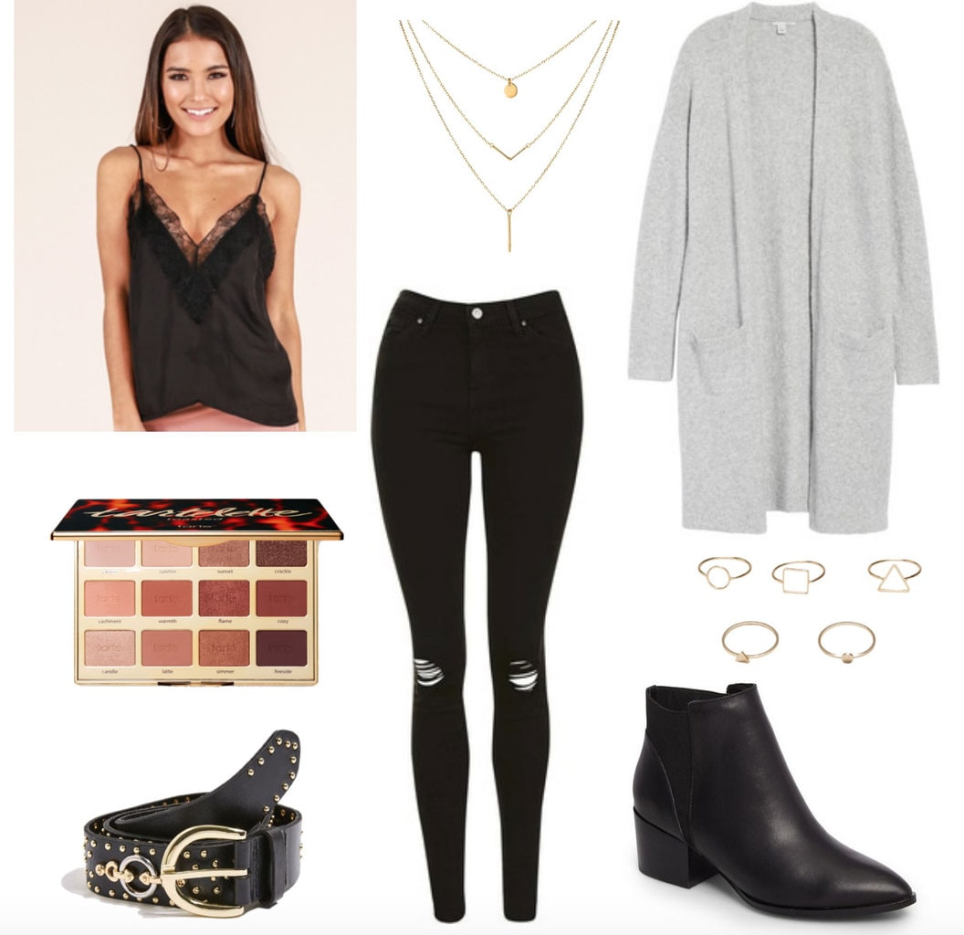 Night out with friends outfit: Ripped jeans, eyelash lace tank, slouchy cardigan, layered necklaces, studded belt, Chelsea boots, stacked rings, Tarte toasted eyeshadow palette