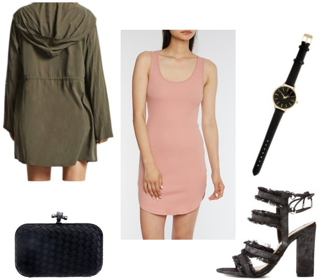 How to style a rose pink bodycon dress for a night out with distressed strappy heels, an oversized army jacket, a woven clutch, and a black and gold watch