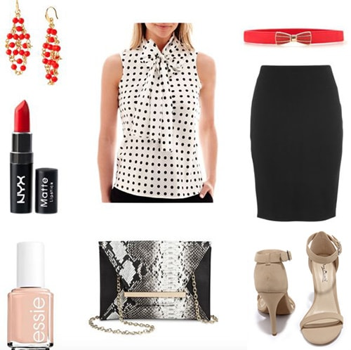 How to wear a polka dot blouse for a night out