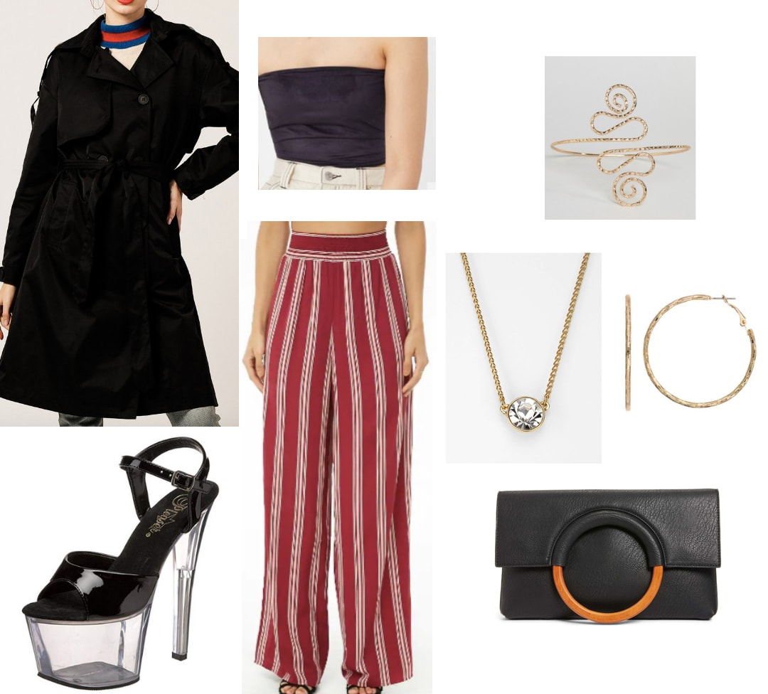 Striped pants nighttime outfit: How to wear striped pants for a night out with long black coat, black tube top, black clutch, gold jewelry and perspex heels