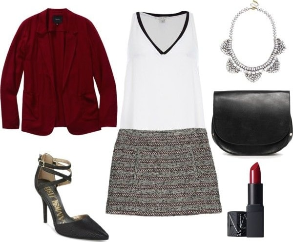 tweed skirt, blouse, and blazer outfit