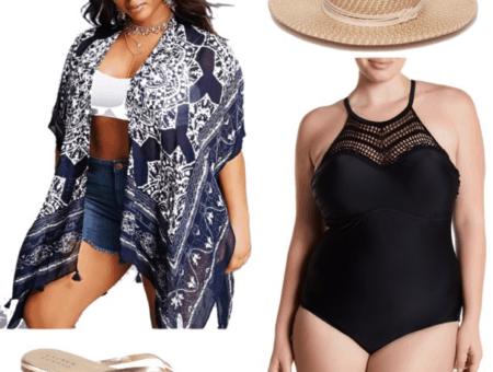 plus size kimono jacket plus size black swimsuit beach hat gold flip flops